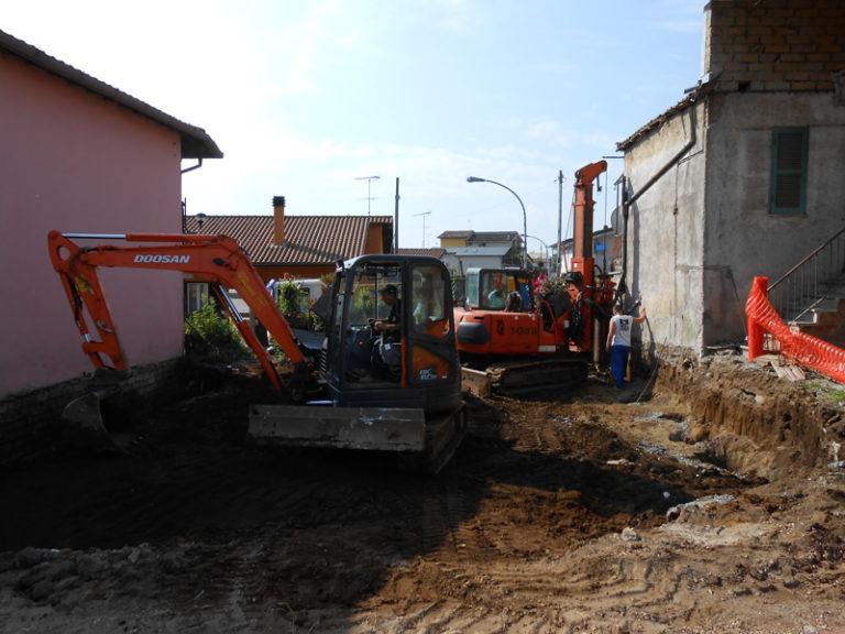 Paratia di pali di contenimento Zona san cesareo tecno pozzi srl trivellatori roma