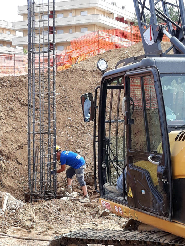 opere di fondazione pareti di recinzione immissione di gabbie di ferro