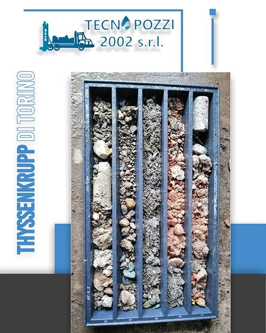 thyssenkrupp di Torino carotaggio continuo con catalogazione in cassette apposite tecnopozzi 2002
